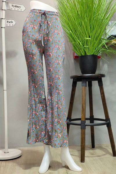 Bianca Pleated Pants in Printed Sky Blue