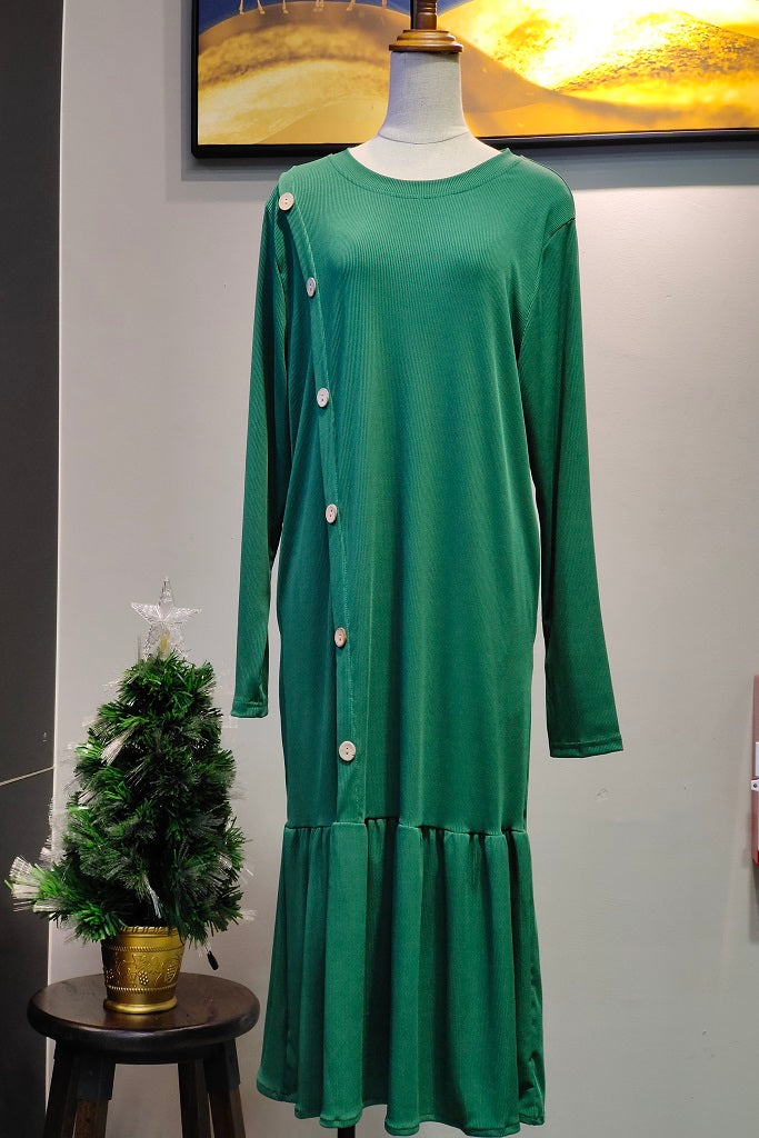 Angela Button Design Long Top in Green