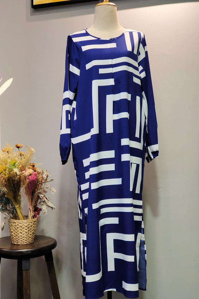 Hajra Abaya in Printed Blue