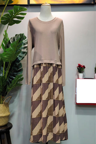 Rina Plus Size Dress in Brown