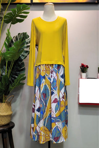 Rina Plus Size Dress in Floral Yellow