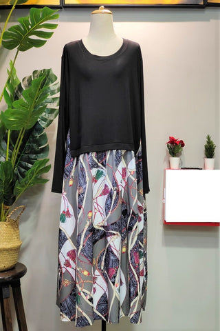 Rina Plus Size Dress in Floral Black
