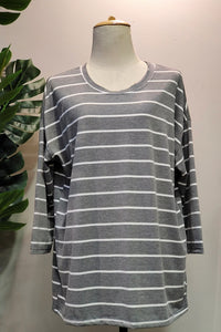Jorina Stripe Top in Grey