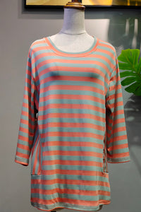 Celine Stripe Top in Orange & Green