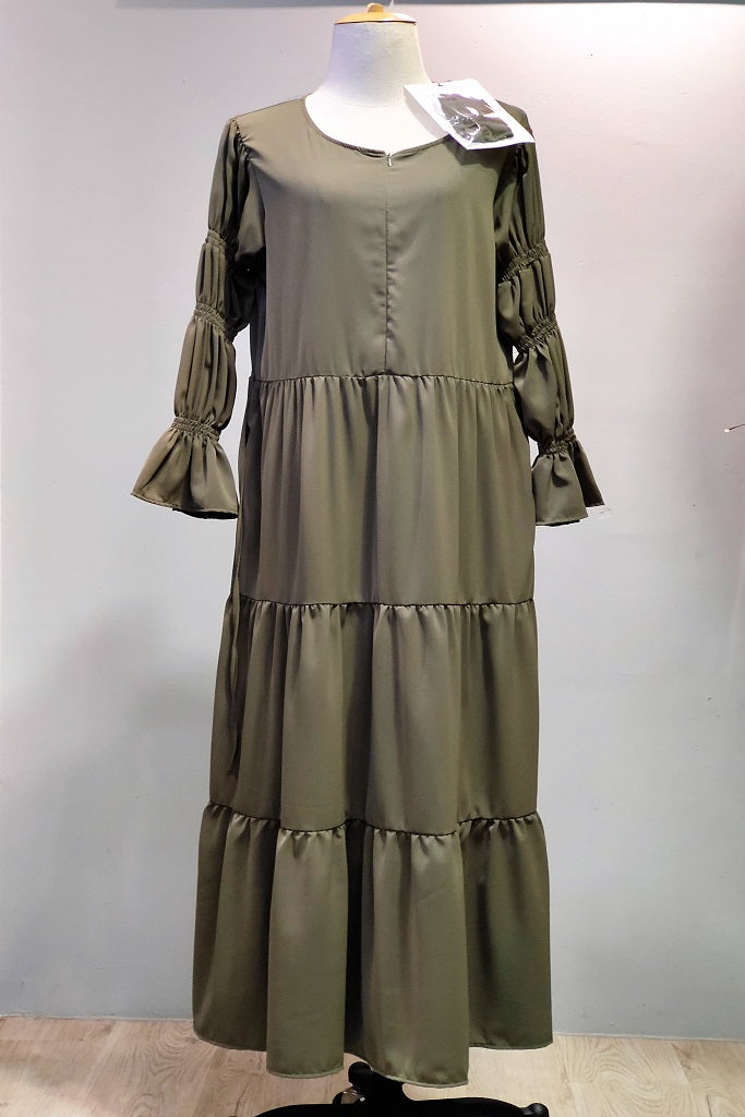 Samy Layered Dress in Olive Green