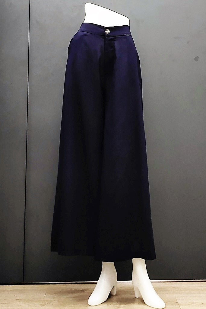 Denise Wide Leg Pants in Navy Blue