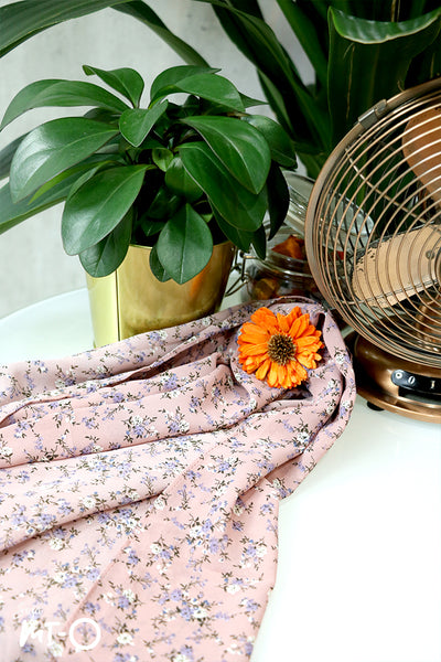 Amine Branched Floral Headscarf in Pale Salmon - Saja Mi-O