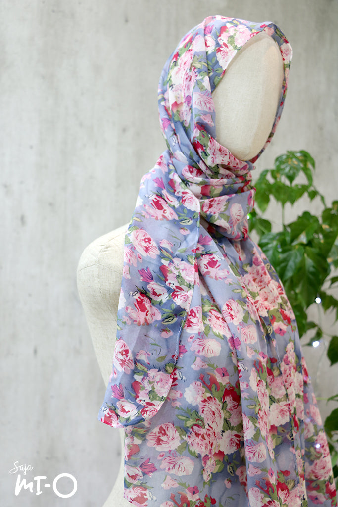 Zuri Blossoms Headscarf in Periwinkle