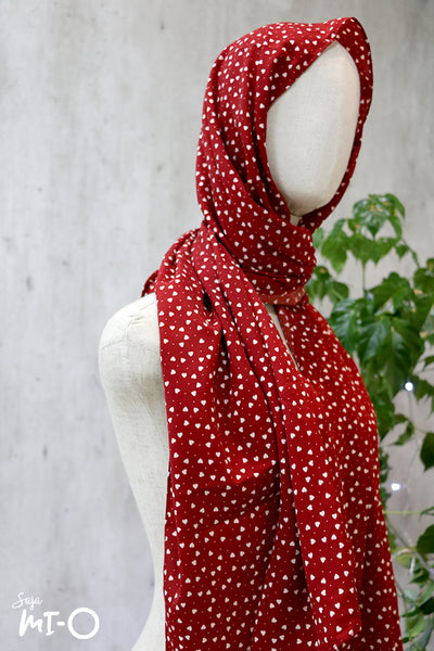 Zoei Dainty Hearts Tudung in Red - Saja Mi-O