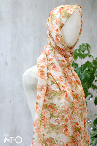 Zuri Blossoms Headscarf in Pastel Orange - Saja Mi-O