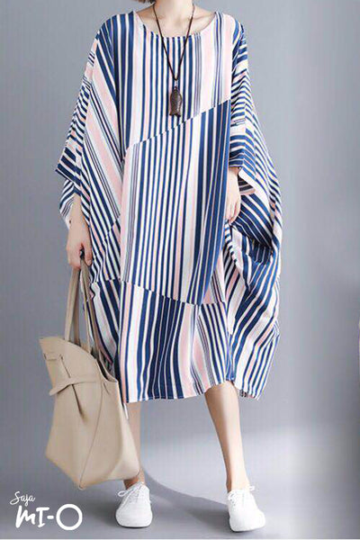 Azria Loose Fit Dress in Multicolour Blue and Peach - Saja Mi-O