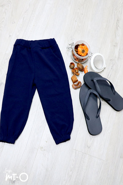 Terry Pull-on Cotton Pants in Blue