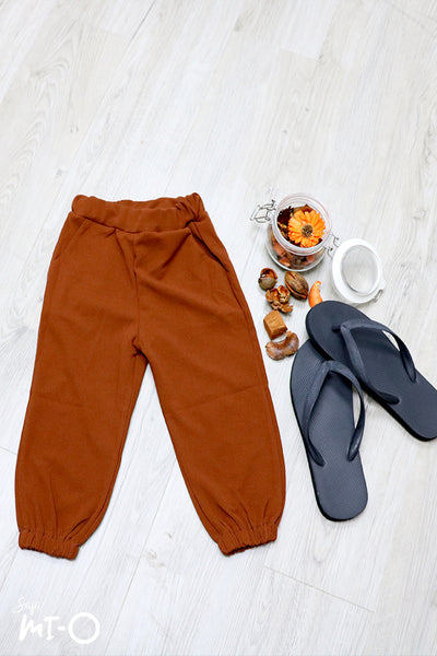 Terry Pull-on Cotton Pants in Brown
