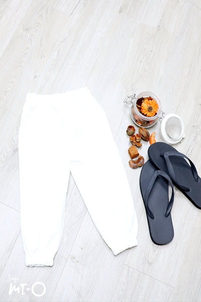Terry Pull-on Cotton Pants in White