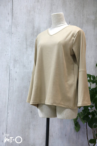 Mia V-Neck Top in Beige