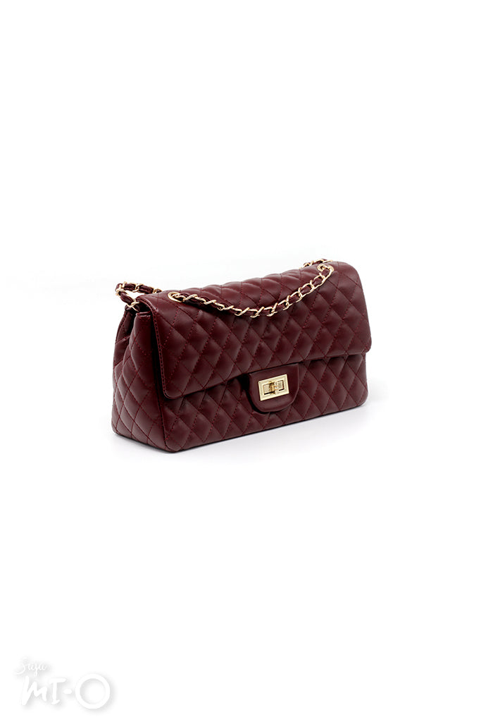 Atya Quilted Bag in Burgundy - Saja Mi-O