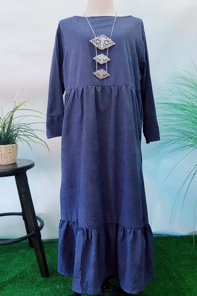Amanda Long Dress in Velvet Steel Blue - Saja Mi-O