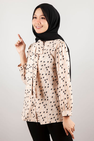 Ana Button Down Printed Top in Light Brown