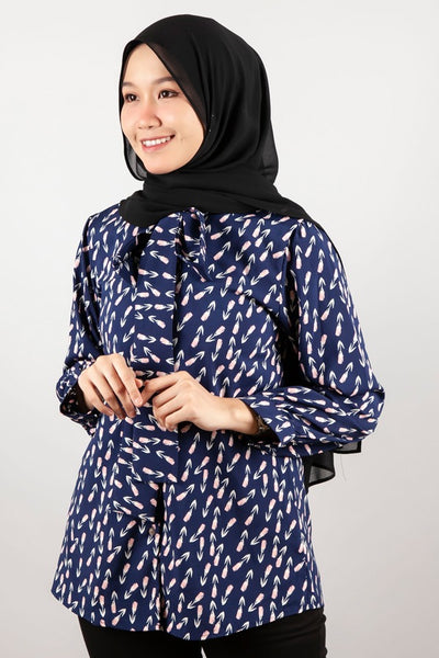 Ana Button Down Printed Top in Navy Blue