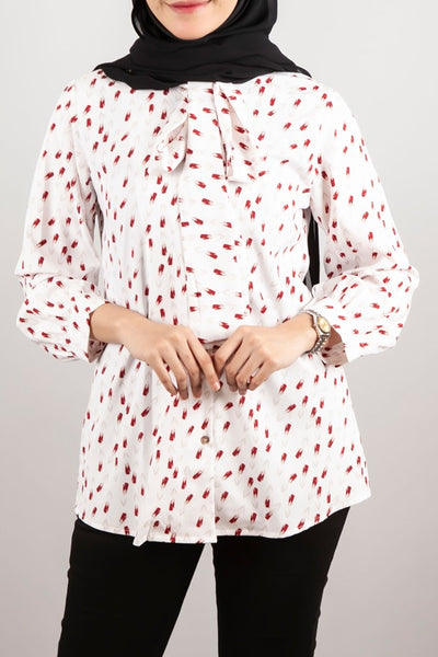 Ana Button Down Printed Top in Natural
