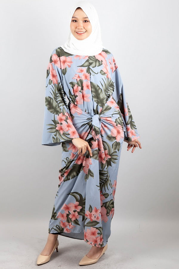 Maya Floral Kaftan Dress in Light Blue