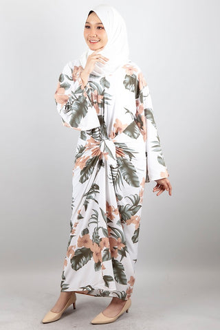 Maya Floral Kaftan Dress in White