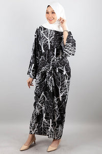 Maya Printed Kaftan Dress in Black