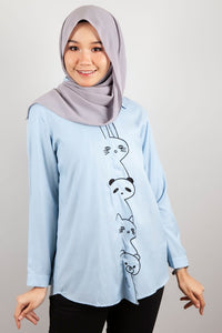 Rosenda Collared Top in Light Blue
