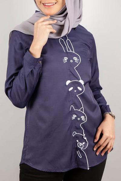 Rosenda Collared Top in Navy Blue