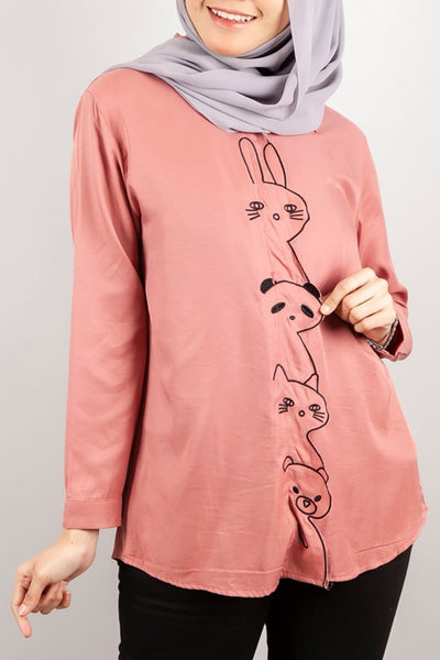 Rosenda Collared Top in Coral Pink