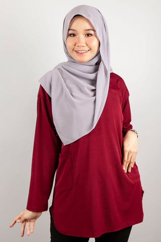 Angelina Two Poket Top in Burgundy