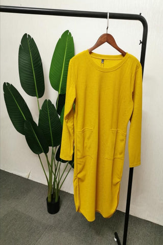 Gabriela Two Pocket Long Slimming Top in Yellow
