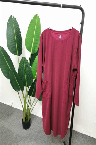 Gabriela Two Pocket Long Slimming Top in Burgundy