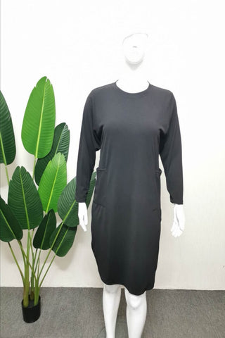 Gabriela Two Pocket Long Slimming Top in Black