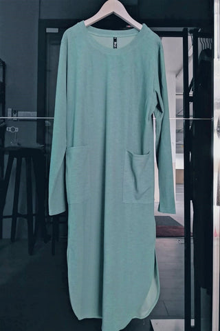 Gabriela Two Pocket Long Slimming Top in Light Aquamarine