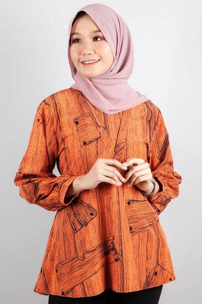 Samantha Printed Top in Orange