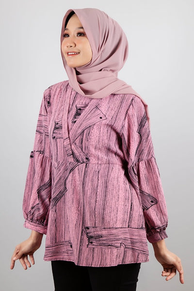Samantha Printed Top in Pink