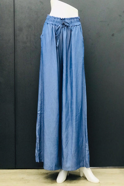 Alexa Casual Flare Pants in Steel Blue
