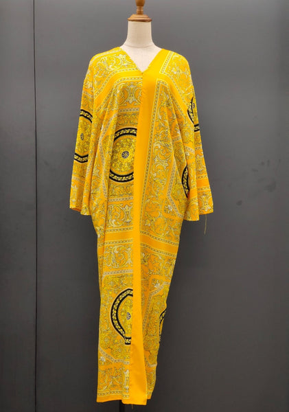 Emilda Kaftan Dress in Printed Yellow