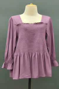 Vanessa Ruffled Loose Casual Top in Purple