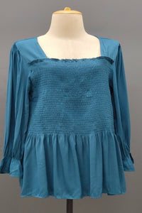 Vanessa Ruffled Loose Casual Top in Teal