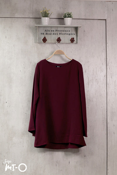 Shereen Plain Top in Burgundy - Saja Mi-O