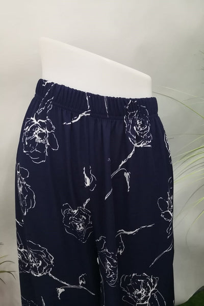 Mariana Wide Leg Bottom in Floral Dark Blue - Saja Mi-O