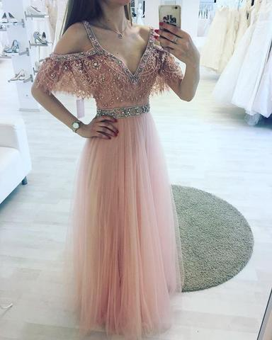 pink tulle  off shoulder beaded charming prom dress, PD3486