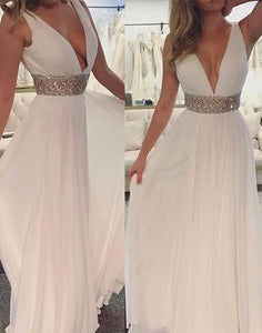 white chiffon v-neck beaded high waist 2017 cheap prom dress, PD1502