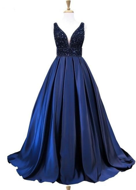 a-line v-neck evening dress beaded saatin long prom dress,HS128