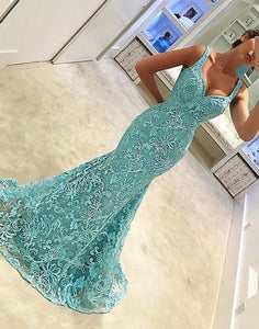 blue lace mermaid long prom dress, PD45800