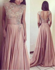 blush pink long beaded top long chiffon prom dress, open back evening dress, PD7281