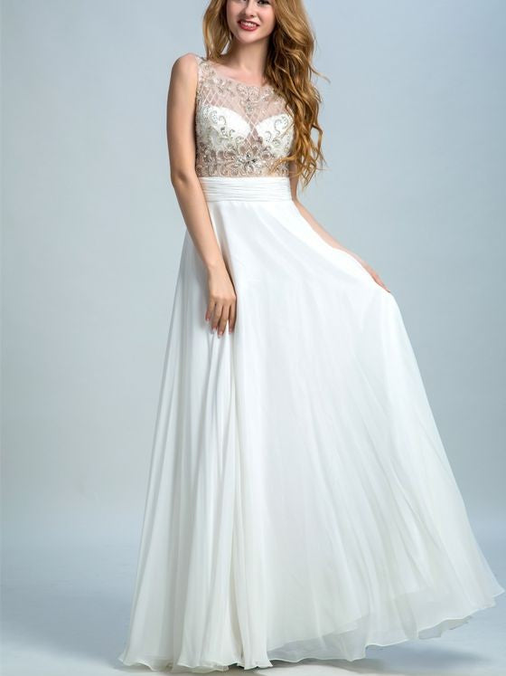 a-line chiffon prom dress rhine stone beaded white evening dress,HS132
