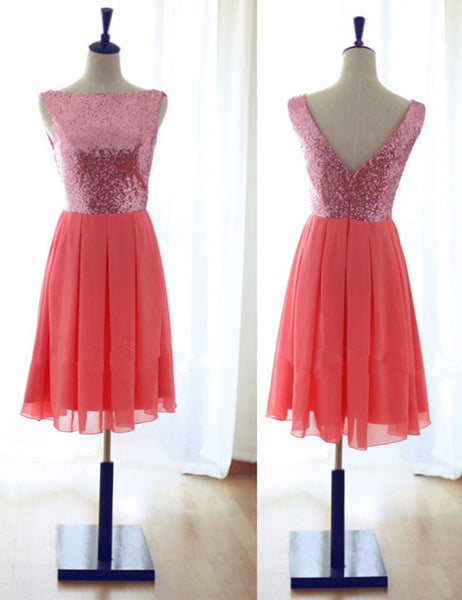 Watermelon Bridesmaid Dress, Knee-length Bridesmaid Dress,Chiffon Bridesmaid Dress,Sequined Bridesmaid Dress,Deep V-neck Back Bridesmaid Dress, PD13